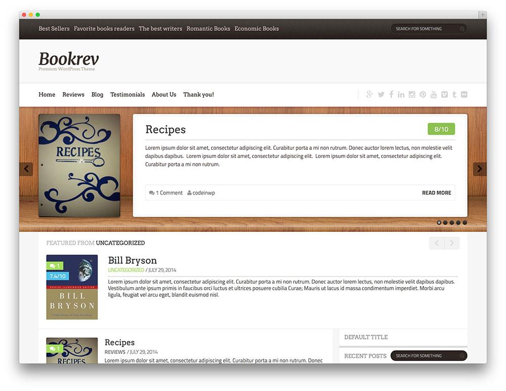 Temas Para WordPress Grátis BookRev Lite